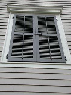 False Window with Louvered Shutters - Slide Bolt and Faux Tilt Rods