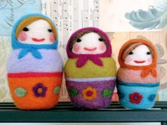 Needle Felted Russian Dolls Set of 3 Handmade by by ValsArtStudio, $115.00