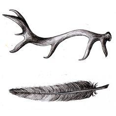 antler, feather, illustration by hellojenuine on flickr #antler #feather #illustration