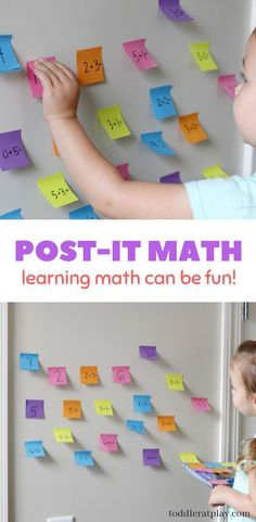Create an easy MATH game using Post-It notes! Kids will surely have fun learning math this way! - Kids education and learning acts Easy Math Games, Kindergarten Math Games, Learning Games For Kids, Math For Kids, Craft Activities For Kids, Teaching Math, Math Activities, Mental Maths Games, Math Games For Preschoolers
