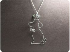Dog and Crown Necklace Copper Wire Dog Crystal Beads by Boogiecat, $16.00