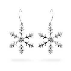 Silver Snowflake Dangle Earrings
