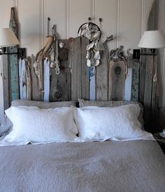 driftwood headboard by Tricia Rose of Rough Linen Bedding & Bath, San Francisco ~ nautical ocean sea beach shore bedroom bed recycled wood