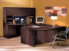 U Shaped Desk with Hutch and yellow wall