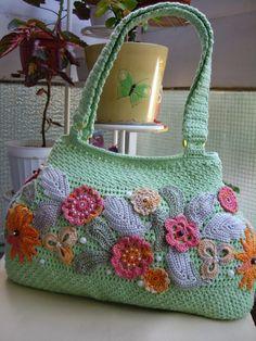 Crochet handbag with flowers and pearls...Handmade ♡ by GalyaKireva