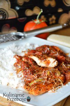 Kurczak w pomidorach, szybki i pyszny obiad, filety z piersi kurczaka - co na obiad, piersi z kurczaka w sosie pomidorowym z porem.