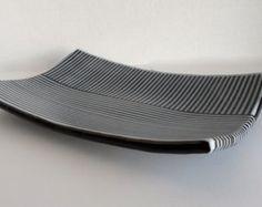 Fused Glass Platter - Black and White On Edge  -Stripes