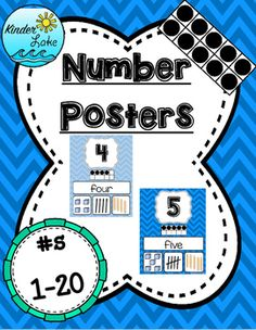 This fun set is sure to brighten any classroom. It includes the number, number word, ten frame, base ten blocks, tallies, and popsicle sticks! The colors alternate between light blue and dark blue chevron. Numbers 1-20 are included.