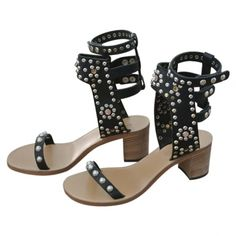 c8ef53cbc19 ISABEL MARANT Caroll Elvis black Sandal Shoes