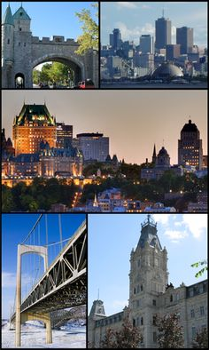 Quebec City, Quebec, Canada Top left: Saint Louis Gate in Ramparts, Top right: View of downtown Vieux Quebec Cap Blanc Colline Parlementaine and Bassin Louise waterfront from Saint Laurent Street in Levis area, Center: View of Frontenac Castle and Holy T Beautiful Places In The World, Places Around The World, Great Places, Places To Visit, Wonderful Places, Quebec Montreal, Quebec City, Chute Montmorency, Chateau Frontenac