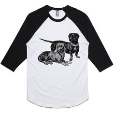 theIndie Dachshund Illustration (Black) 3/4-Sleeve Raglan Baseball T-Shirt