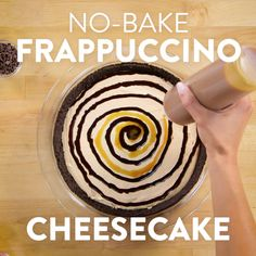 Calling every Frappuccino fan out there: we've whipped up an easy no-bake cheesecake, inspired by one of our favorite Starbucks drinks, the Frappuccino. This is full of rich coffee flavor with an Oreo crust plus chocolate and caramel drizzles. No Bake Desserts, Just Desserts, Delicious Desserts, Dessert Recipes, Yummy Food, Fondue Recipes, Copycat Recipes, Food Cakes, Cupcake Cakes