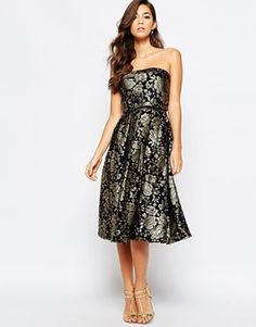 Chi Chi London Premium 2 In 1 Midi Prom Dress In Metallic Jacquard