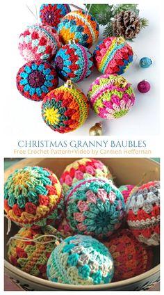 Christmas Granny Baubles Ornament Free Crochet Patterns Crochet Ornament Patterns, Crochet Ornaments, Ornament Crafts, Crochet Ball, Knit Or Crochet, Free Crochet, Diy Christmas Baubles, Crochet Christmas, Trapillo