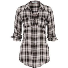 tonal plaid tunic ($34) ❤ liked on Polyvore featuring tops, tunics, shirts, plaid, plaid top, black shirt, rayon shirts, metallic tunic and button front shirt