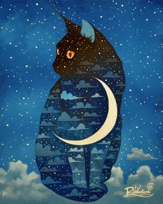 "The Original Painting "" MOON CAT "" is available now: http://ift.tt/1dFMdtx La Peinture Originale "" CHAT LUNE "" est disponible: http://ift.tt/1QcDD3D Fine art print: http://ift.tt/1KY18JU"