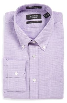 Nordstrom Men's Shop Traditional Fit Houndstooth Linen & Cotton Dress Shirt available at #Nordstrom