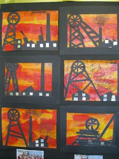 A super Coal Mining Art (Heritage Week) classroom display photo contribution. Great ideas for your classroom!