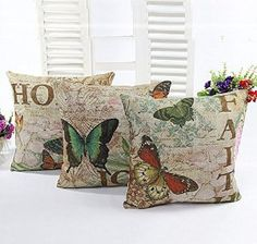 Cotton Linen Square Home Decorative Throw Pillow Cover Cushion Case Pillow Case 18 X 18 Inches / 45 X 45 cm (Butterfly Suit(3 piece))  http://www.amazon.com/gp/product/B00DLTCRSA