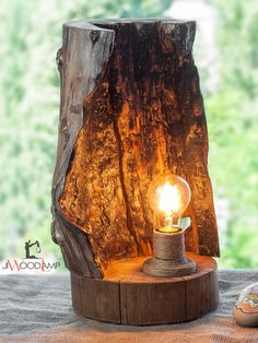 Wood lamp, Driftwood lamp, Rustic light, Burned wood lamp, R Rustic Lamps, Rustic Lighting, Rustic Decor, Rustic Table, Lighting Ideas, Rustic Wood, Wood Wood, Country Decor, Retro Home Decor