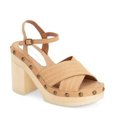 """'Camila' Platform sandal by Jeffrey Campbell Platforms by Jeffrey Campbell. Super comfy and well made. Buckle straps, cream and beige color , leather material, platform bottoms. Approx 4 inch in Height with 1.75"""" front platform. Bottom sole has a protective soft layer to prevent clamping noise when walking. Love!!!  Jeffrey Campbell Shoes Platforms"""