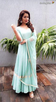 Rashi Khanna Latest Photos In Sea Green Long Anarkali Suit Indian Fashion Dresses, Indian Bridal Outfits, Dress Indian Style, Indian Gowns, Indian Designer Outfits, Indian Attire, Designer Dresses, Simple Kurti Designs, Stylish Dress Designs