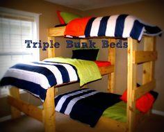 Triple Bunk Beds 4 my sweet boys! Bedroom Bed, Kids Bedroom, Bedroom Ideas, Sweet Boys, Triple Bunk Beds, Triple Bed, Bunk Bed Designs, Kids Bunk Beds, Bed Plans