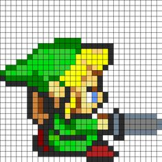 Link Attack Perler Bead Pattern | Bead Sprites | Characters Fuse Bead Patterns