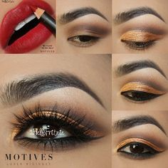 We're in love with this antique gold cut crease by @Hellofritzie using Motives for the holidays! Pair it with Motives lip crayon in Retro Red and you have a stunning full look! | motivescosmetics's photo on Instagram