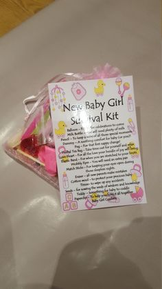 New Baby Girl Survival Kit - Novelty gift for a friend or loved one by NoveltyGiftbags on Etsy