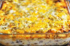Chili Relleno Casserole - replace beef with bkfst sausage for brunch or shower food