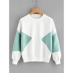 SheIn(sheinside) Color Block Sweatshirt ($15) ❤ liked on Polyvore featuring tops, hoodies, sweatshirts, white, crew neck sweatshirts, long sleeve tops, pullover sweatshirt, white pullover and colourblock sweatshirt