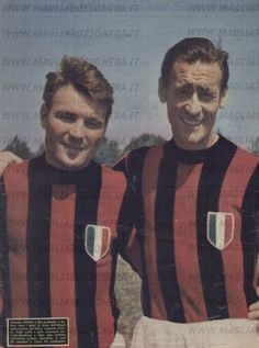 José João Altafini (AC Milan, 1958–1965, 205 apps, 120 goals) and Nils Liedholm (AC Milan, 1949–1961, 359 apps, 81 goals).