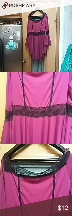 """Top Goth-style top.  NWOT.  Measurements:. Chest 38"""".  Length 31"""".   Beck area runs wide.  The color is wine.  I chose both pink & purple for the color description.  It's kind of in-between the two. ? Tops Tunics"""