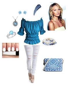 """""""Jeans and Peasant Top Outfit"""" by beverly-d-spell on Polyvore featuring Dolce&Gabbana, Swarovski, White House Black Market and Ice"""