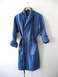 RARE Boro Japan Vtg Indigo Chore Jacket WorkWear Coat French Duster Trench RRL | eBay