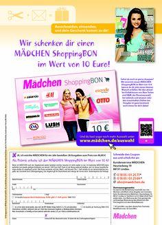 #Abowerbung für Mädchen 22/13: Werbemittel: 1/1-Abo-Anzeige, Heftwerbung, Angebot: Jahresabo mit Gutschein-Prämie, Response-Aktivierung über Coupon und Deeplink/QR-Code I © Montana Medien, Hamburg - September 2013 I Bestellen Sie #Mädchen unter: www.mädchen.de/auswahl #Direktmarketing, #Print, #Verlage, #CRM, #Montana Medien BERATUNG und AGENTUR