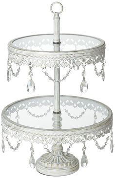 Amazon.com: Jenny 2-Tier Glass Top White Cake or Cupcake Stand: Home & Kitchen