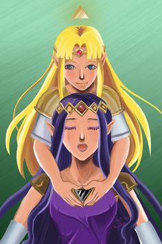 Fanart of the legend of zelda, link between worlds Zelda and Hilda Art by nyutor