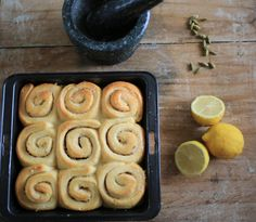 Lemon and Cardamom Scented Sticky Buns by Burnt Butter Bakery