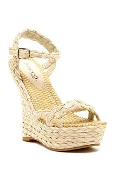 Bucco Pollyana Womens Fashion Raffia Wedge Sandals Beige Size 6 US -- Find out more about the great product at the image link.