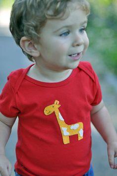 Giraffe Red T-shirt - American Apparel 100% Cotton Short Sleeve Lap Tee - Baby Toddler Child Boy or Girl