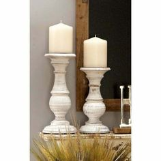 The Gray Barn Crow Haven Distressed White Mango Wood White #candle #holders #accessories (ebay link) White Candle Holders, Wooden Candle Holders, Candle Holder Set, Candlestick Holders, Rustic Candles, White Candles, Pillar Candles, Luxury Candles, Porta Velas