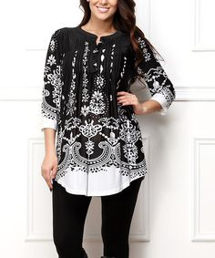 This Back & White Paisley Notch Neck Tunic - Plus is perfect! #zulilyfinds