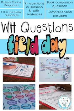 All WH questions for a variety of skill levels. This is one of the rare custom made Field Day themes for speech therapy! Your learners can answer questions in isolation and from passages with sentences to paragraphs. There are also book recommenda Speech Language Pathology, Speech And Language, Articulation Games, Wh Questions, Speech Therapy Activities, Language Development, Classroom Fun, Teaching Tips, Book Recommendations