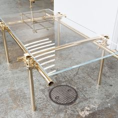 Gold plated tube & copper scaffolding Table
