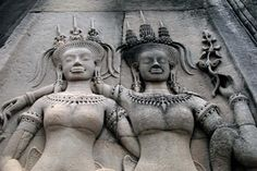 Detail of apsara sculptures, Angkor Wat