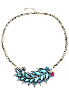 Blue Gemstone Gold Leaves Chain Necklace US$7.51