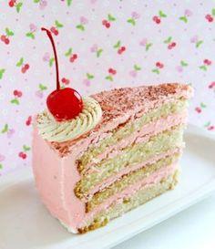 Vanilla & Cherry Cake - use cherry buttercream frosting Cherry Desserts, Cherry Recipes, Just Desserts, Delicious Desserts, Cherry Ideas, Cherry Cherry, Fruit Recipes, Frosting Recipes, Cake Recipes