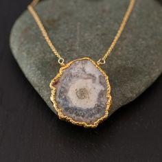 Solar Quartz Necklace  Druzy Agate necklace  Bezel by delezhen, $55.00